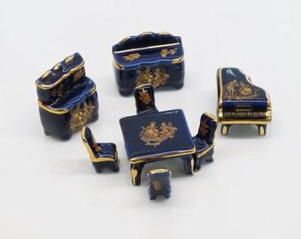 Limoges France Cobalt Miniature Dollhouse Furniture Dining Room Porcelain
