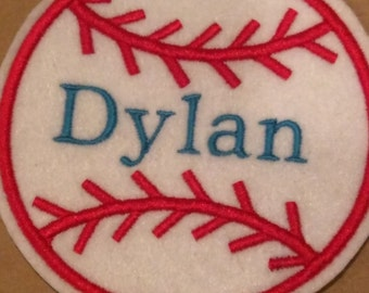 Baseball embroidered iron on name patch