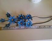 Blue Crochet Flower Necklace, Turquoise Crochet Necklace, Aquamarine Crochet Necklace, Flower Necklace, Crochet Flower,statement necklace