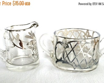 On Sale Silver overlay Glass Cream and sugar set Art Deco