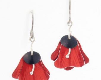 Flower Petal Earrings – Red and Black Anodized Aluminum