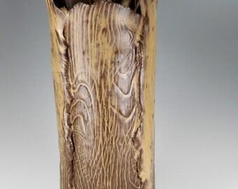 Ceramic utensil holder, pottery tall vase, stoneware utensil holder, ceramic tall vase, slab built pottery, hand built cylinder brown glaze