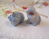 Pair Wade Hippos Yawning Sleeping Whimsies Red Rose Tea Figures Wade Pottery