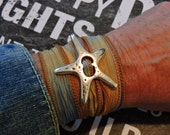 Silk Wrap Bracelet, Silver Jewelry, Silver Starfish, Boho Jewelry, Wrist Wrap Bracelet, Wrap Jewelry, Bohemian Jewelry, Starfish