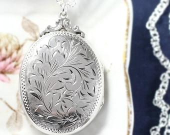 Large Oval Sterling Silver Locket Necklace, Hand Chased Flower and Vine Design Vintage Photo Pendant - Forever