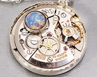 Sterling Silver Opal Necklace Steampunk Necklace Steampunk Pendant Silver Opal Necklace