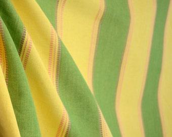Green Yellow Wide Stripe Upholstery Fabric