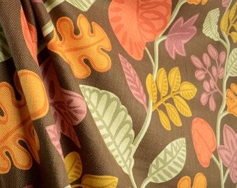 Jacks Beanstalk Brown Orange Floral Fabric