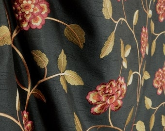Isabella Black Red Floral Curtain Fabric