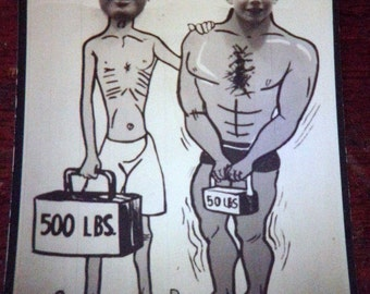 1950s Vernacular NOVELTY PHOTO Snapshot: Muscle man and Skinny body men, head poke through