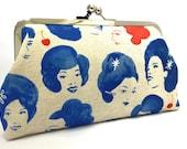 clutch purse - foxy lady - 8 inch metal frame clutch purse - large purse- lady -retro- blue - red - clutch- kisslock