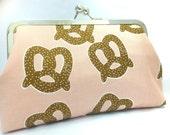 clutch purse - pretzel - 8 inch metal frame clutch purse - large purse- pretzel - pink- clutch- kisslock
