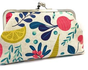 clean eating  - 8 inch metal frame clutch purse - large purse-fruit- vegtables -colourful- clutch- kisslock
