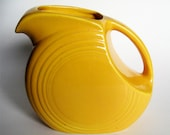 Original Vintage Harlequin Yellow Fiesta Juice Disk Pitcher Ice Lip 1935-1946
