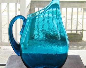 Blenko MCM Large 1950s Turquoise Art Glass Pitcher Vase Winslow Anderson