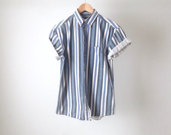 90s nirvana STRIPED color block DENIM short sleeve shirt