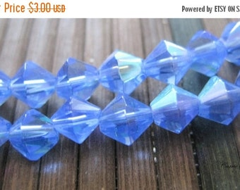 "20% OFF ON SALE 16"" long (55 pcs) Blue Glass Bicone Ab Beads"