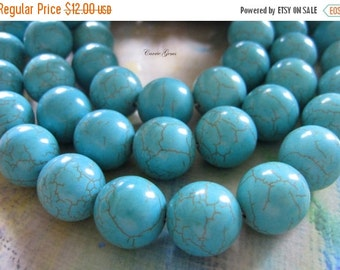 "20% OFF ON SALE 16"" long (23 pcs) Green Howlite Round 18mm Beads"