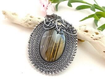 Labradorite necklace, wire wrap necklace, sterling silver jewelry, gemstone jewelry, wirework necklace