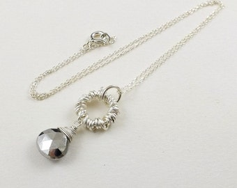 Pirite necklace, wire wrapped jewelry, gemstone small pendant, sterling silver jewelry