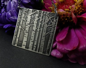 Etched silver necklace, sterling silver jewelry, birch-tree pendant