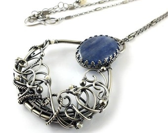 Luxury romantic necklace, wire wrapped jewelry, sterling silver jewelry,kyanite and pearls pendant