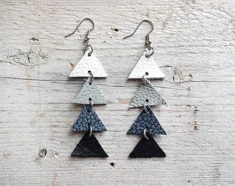 Arrow leather earrings, Triangle Dangle Earrings, Grey, white and black,  boho tribal earrings, Unique Gift for Her