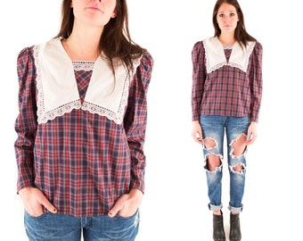 CORA 80s Sweet Plaid Red Blue Oversized Bib Collar White Lace Prairie Prep Button Up Long Sleeve Blouse Small Medium S M