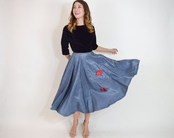 50s Swing Skirt | Blue Taffeta Swing Circle Dance Skirt with Bows | Extra Small