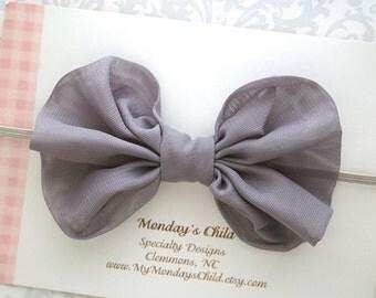 Gray Baby Bow, Gray Bow Headband, Grey Bow, Baby Bows, Baby Bow Headband, Baby Headband, Toddler Headband, Toddler Bow, Newborn Headband