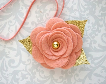 Vintage Pink Felt Flower Headband, Felt Baby Headband, Pink and Gold Headband, Blush Baby Headband, Baby Headband, Toddler Headband Newborn