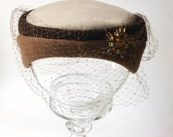 Brown Velour Hat with Veil and Jewel Vintage Italian Hat