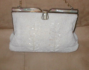 Vintage White Beaded Evening Purse with Mother of Pearl