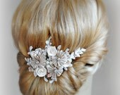 Rose Gold and Champagne Bridal Fascinator, Wedding Hair Flowers with Crystals and Pearls, Flower Hair Clip - KYLIE