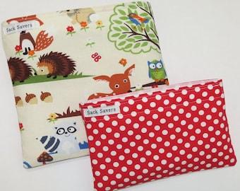 Reusable Sandwich Bag and Snack Bag Set Woodand Red Polka Dot Sandwich Snack Bag Set
