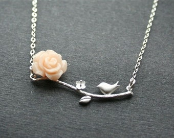 Bird Branch and Peach Rose Flower Necklace, Silver Branch Necklace, Bird Necklace, Wedding Jewelry, Bridesmaids, Christmas, Sterling Silver