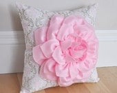Dahlia Flower in Light Pink on Pink White and Taupe Damask Damask Pillow Custom Baby Nursery Decor