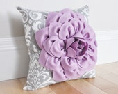 Damask Nursery Pillow. Lilac Purple Dahlia Flower on Gray and White Damask Pillow. Ozborne Damask Pillow. Baby Nursery Home Decor