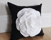 Black and White Rose Flower Pillow Elegant Pillow Textured Pillow