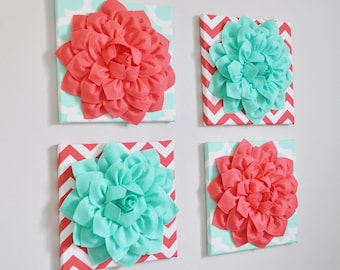 "Childrens Wall Decor -SET OF FOUR Mint and Coral Chevron Flower Wall Hangings 12 x12"" Canvases Nursery Flower Wall Art-"