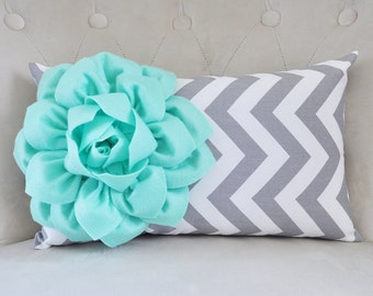 Throw Pillow - Mint - Cover Mint Green Pillow Decorative Pillow Cover Mint Sofa Pillow Grey Chevron Pillow Mint Decor Mint and Gray Nursery