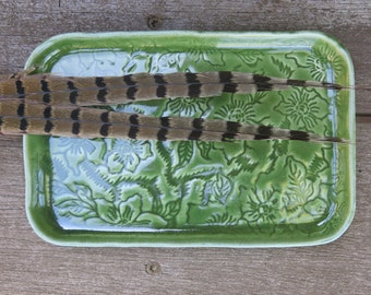 Jade Green Handmade Ceramic Tray Sushi Serving Soap Dish Spoon Rest Retangular in Textured Porcelain, Artisan Pottery by Licia Lucas Pfadt
