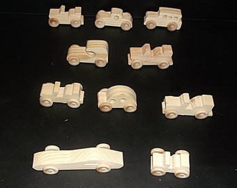 Pkg of 10 Handcrafted Wood Toy Cars, Jeeps  OT- 14 unfinished or finished