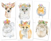 Watercolor Woodland Animal Greeting Cards - Floral Spring - Set of 6 Cards and Envelopes