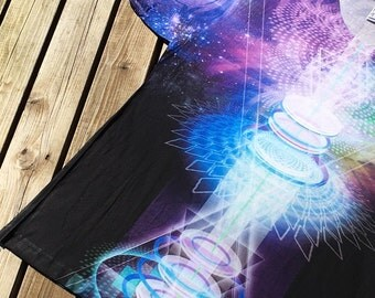 Sacred Geometry SUBLIMATION T-Shirt 'Crystal Science', Visionary Art, Bold All Over Print, StarTrek, Teleport