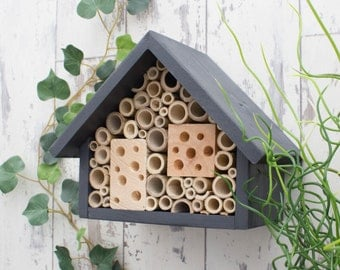 Bee Hotel, Bee House, Large, in 'Urban Slate'. Can be personalised.