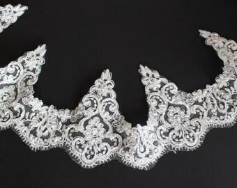 Beaded Alencon Lace Trim in White