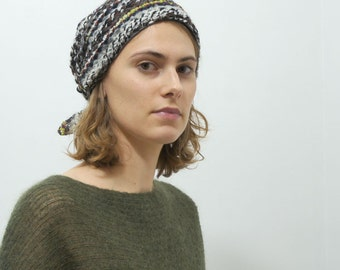 Wool Hat, Wool head scarf, Winter Hat, slouchy hat, beanie, Brown, Boho hats, Gift for her, unique gift, Tie scarf, Hippie hats