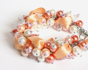 Peach Coral White Bridesmaid Cluster Bracelet and Earrings Set