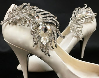 Feather Shoe Clips, Bridal Wedding Shoes, White Feather Clips, Rhinestone Shoe Clips, Bridal Shoe  Accessory
